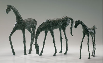 Horse Sculptures: Solid Brass with Bronze Finish