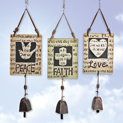 Fused Glass Wind Chime with Metal Bell.  Peace, Faith, Love