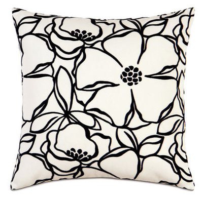 Black & White Square Floral Accent Pillow