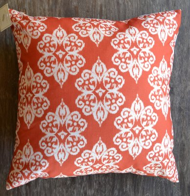 Orange & White Pattern Throw Pillow, 19x19