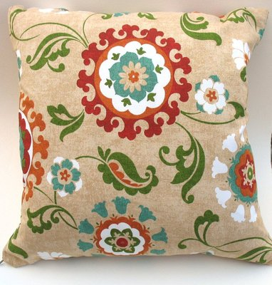 Floral Decorative Pillow. Gold, Turquoise, Red, Orange, Green