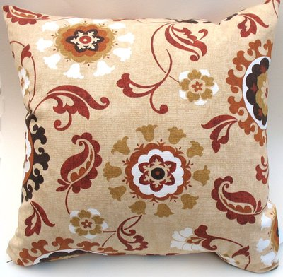 Floral Decorative Pillow. Gold, Terracotta, Brown