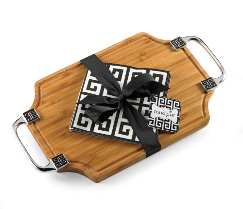 Greek Key Bamboo Cutting Board & Napkin Set
