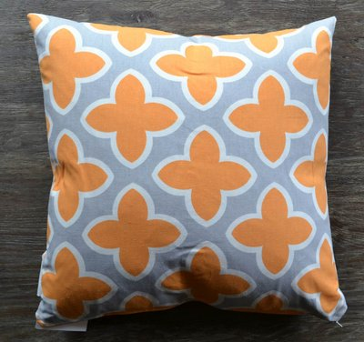 Tangerine Orange and Grey Throw Pillow