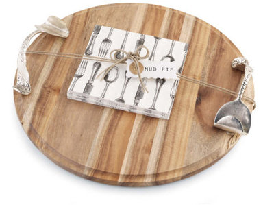 Round Wood Cutting Board with Silverware Handles