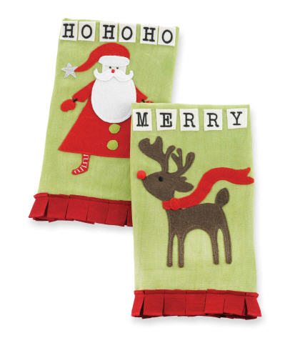 Santa or Reindeer Christmas Linen Towels