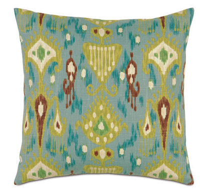 Turquoise & Green Southwest Square Accent Pillow